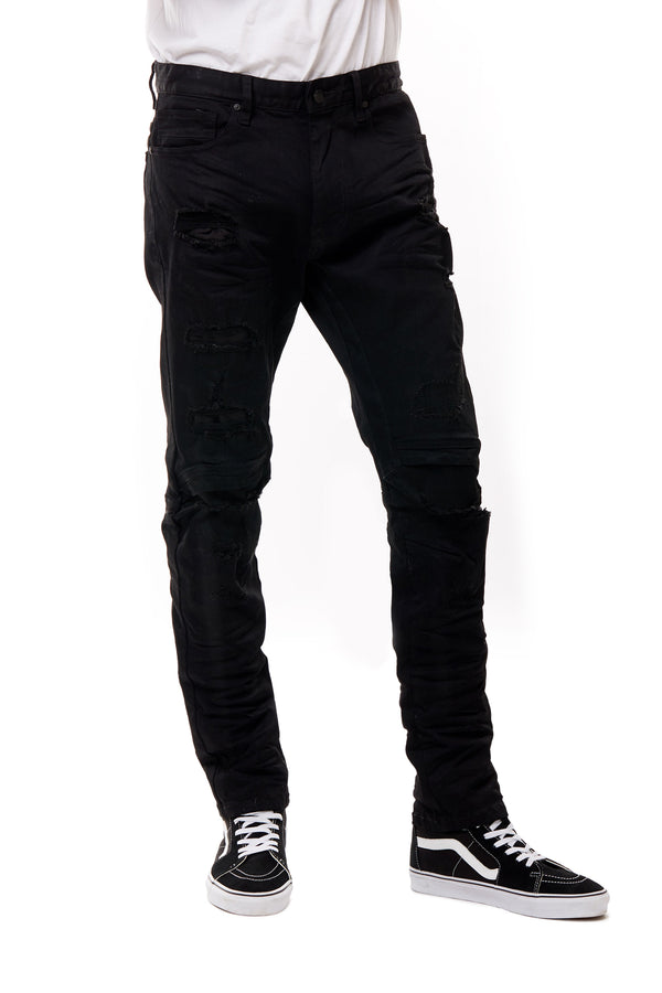 ENGINEERED JEANS WITH RIP OFF - Smoke Rise Denim