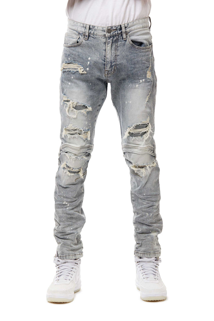 ENGINEERED JEANS WITH RIP OFF - TAFFY BLUE - Smoke Rise Denim