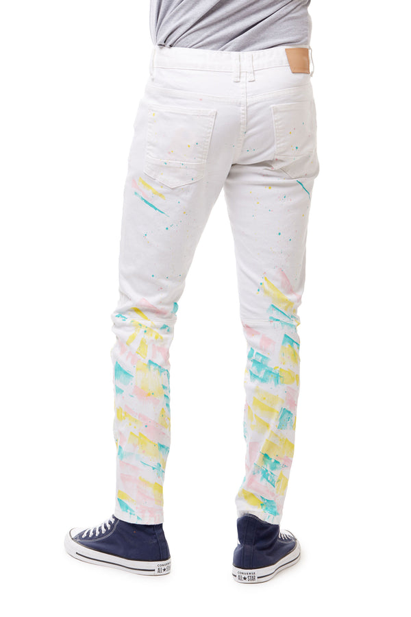 FASHION PANTS WITH PAINT - Smoke Rise Denim