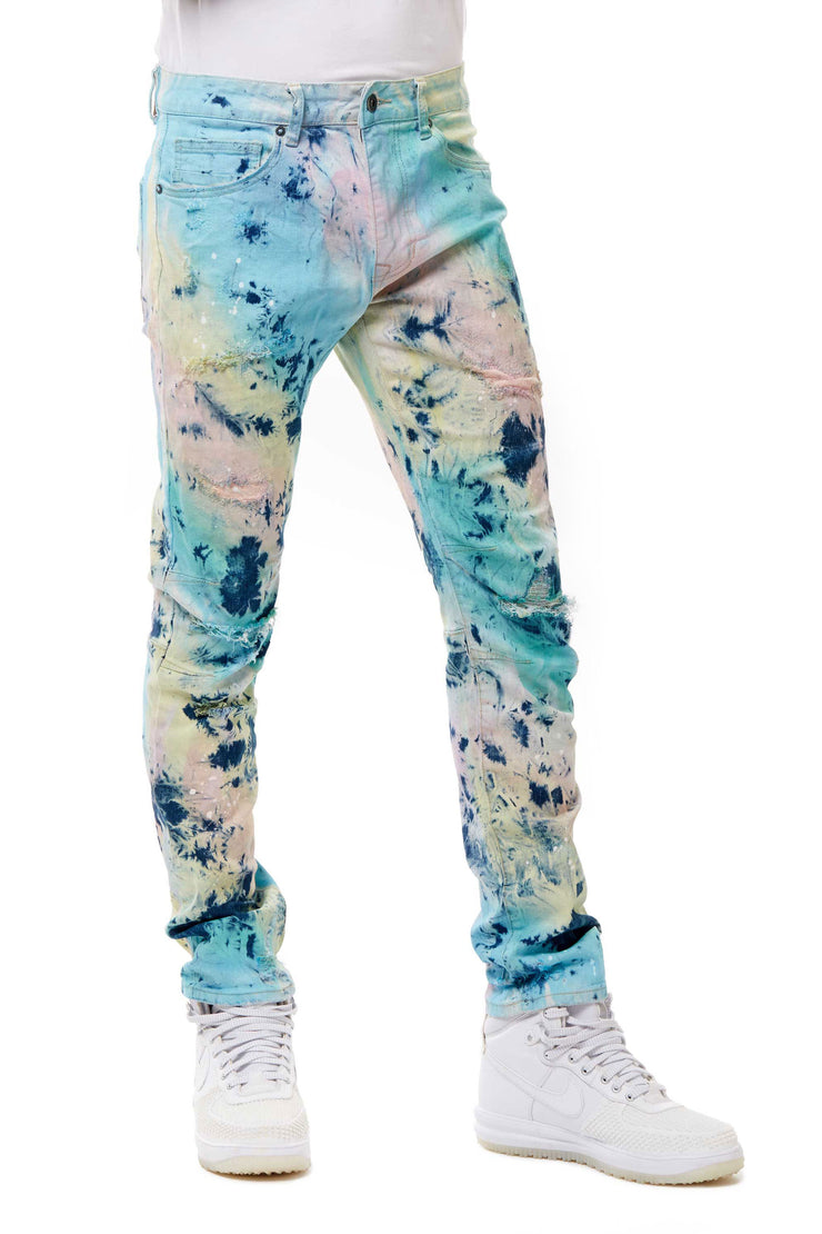 FASHION TIE DYE JEANS MERMAID BLUE - Smoke Rise Denim