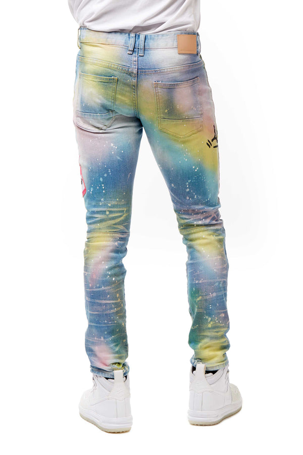 FASHION GRAFFITI DENIM JEANS - Smoke Rise Denim