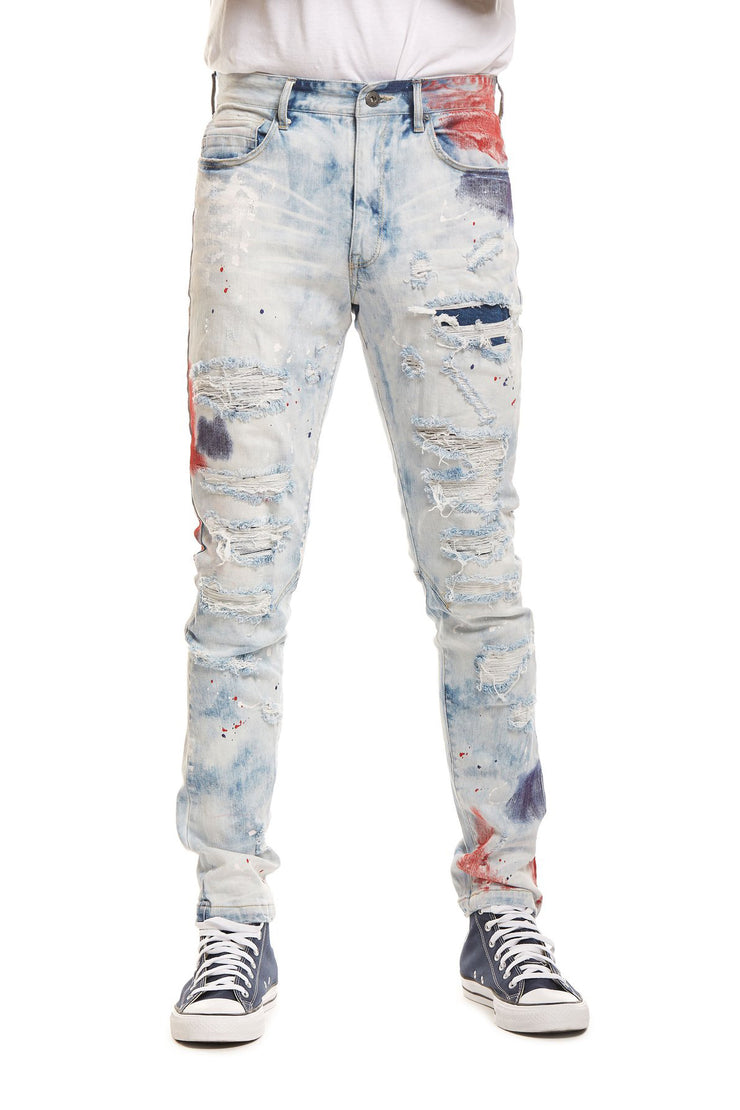 FASHION JEANS WITH PAINT - Smoke Rise Denim