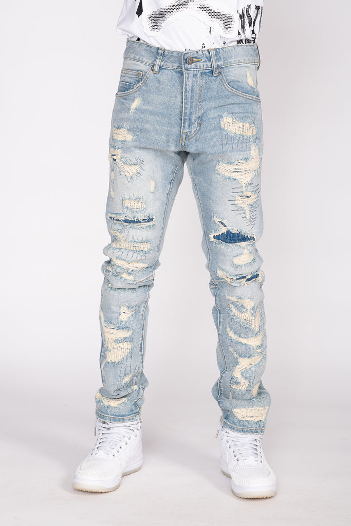 HEAVY RIP AND REPAIR STITCH JEANS - Smoke Rise Denim