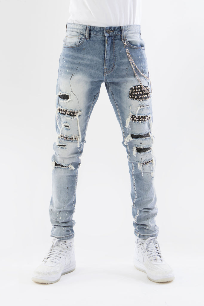 JEANS WITH STUD BACKING - HIGHLAND BLUE - Smoke Rise Denim