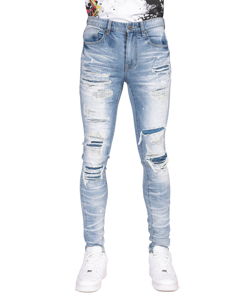 FASHION RIP & REPAIR SKINNY JEANS - Smoke Rise Denim