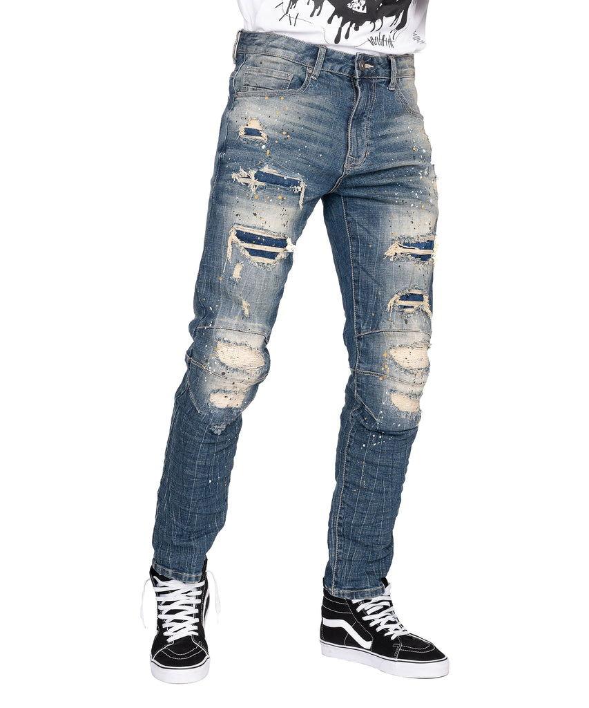 FASHION RIP AND REPAIR JEANS - ALLEY BLUE - Smoke Rise Denim