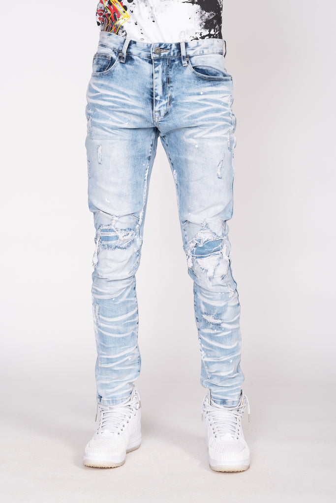 BASIC RIP AND REPAIR JEANS - Smoke Rise Denim