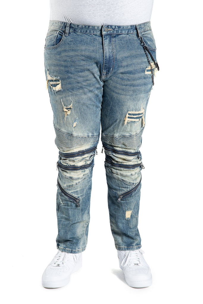 FASHION ENGINEERED DENIM PANTS WITH CHAIN SURF BLUE - BIG AND TALL - Smoke Rise Denim