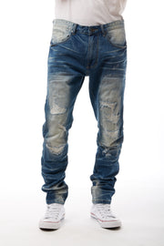 DENIM JEANS WITH RIP AND REPAIR - Smoke Rise Denim