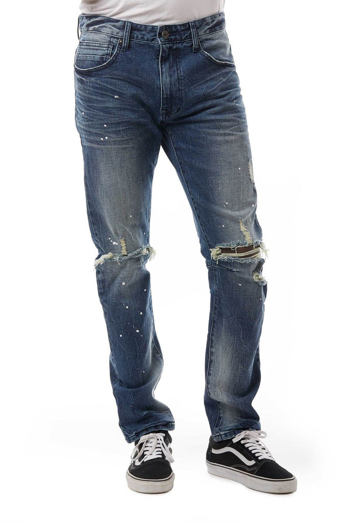 JEANS WITH BLOWN OUT KNEE - Smoke Rise Denim
