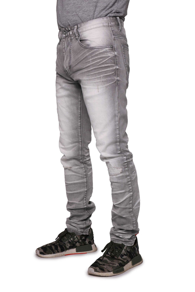 DENIM STRETCH JEANS - LIGHT GREY - Smoke Rise Denim