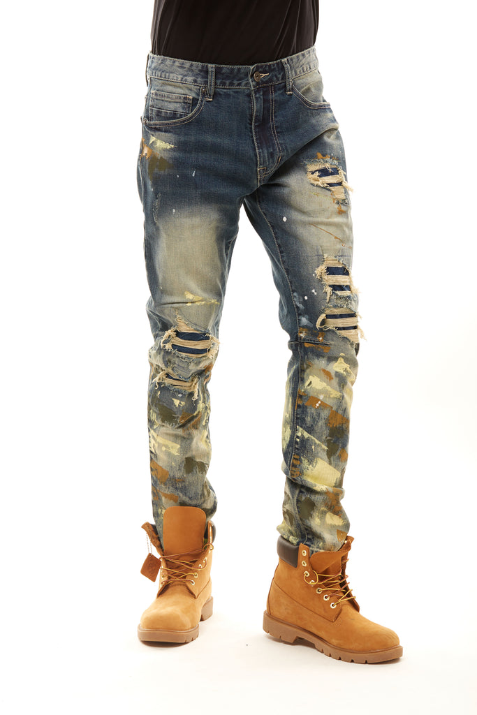 FASHION JEANS WITH PAINT - ALLEY BLUE - Smoke Rise Denim