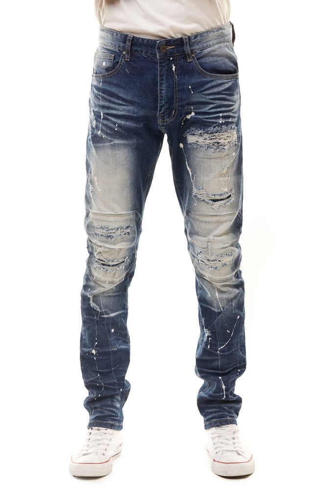 FASHION RIP AND REPAIR JEANS - JUPITER BLUE - Smoke Rise Denim