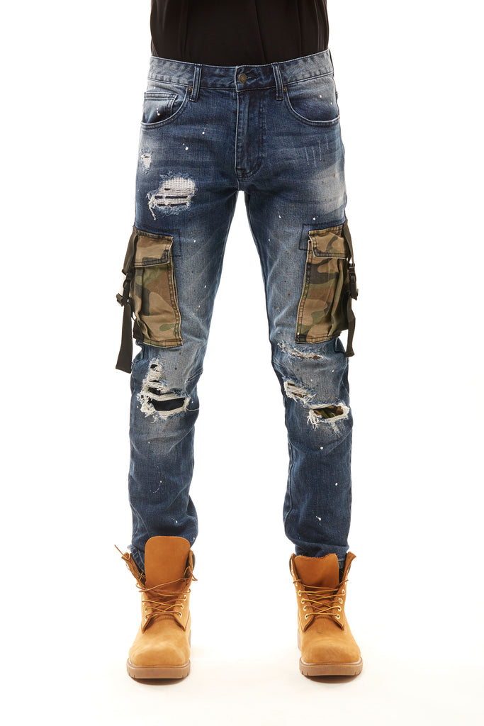 FASHION JEANS WITH CAMO UTILITY POCKETS - Smoke Rise Denim