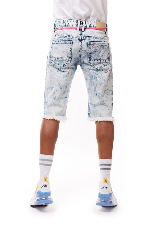 FASHION DENIM SHORTS WITH PAINT - Smoke Rise Denim