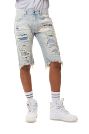 FASHION RIP AND REPAIR DENIM SHORTS - Smoke Rise Denim