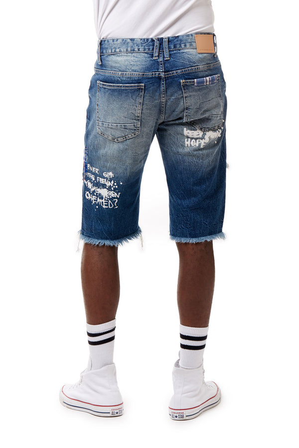 FASHION GRAFFITI DENIM SHORTS - Smoke Rise Denim