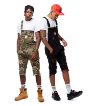 FASHION TWILL OVERALL SHORTS WITH PAINT - Smoke Rise Denim