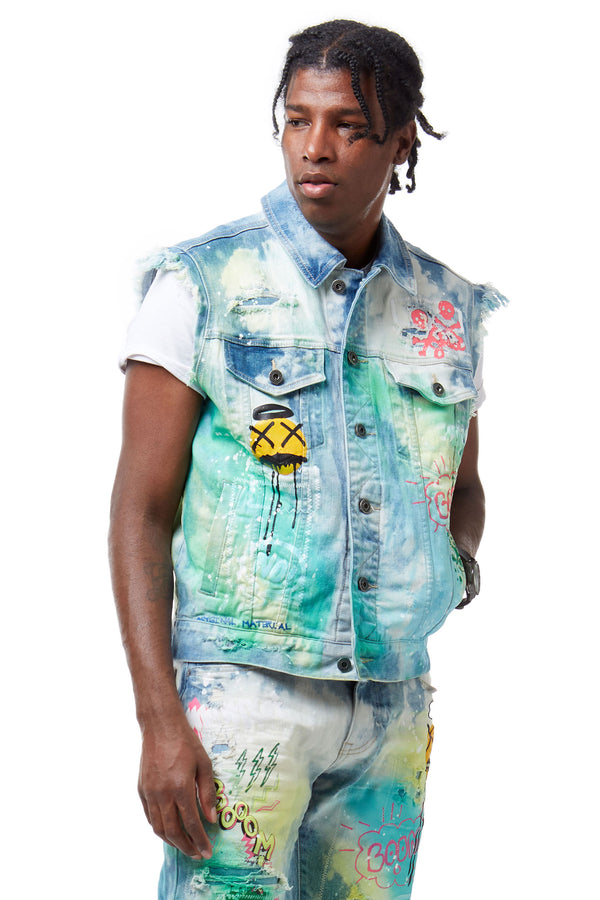 FASHION DENIM GRAFFITI VEST - Smoke Rise Denim