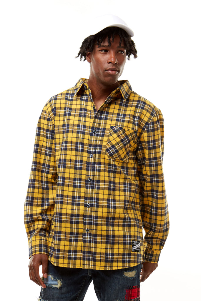 PLAID WOVEN SHIRT - GOLD - Smoke Rise Denim