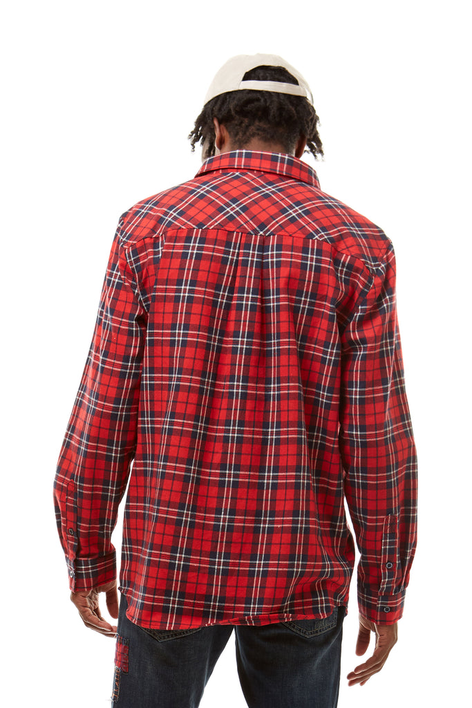 PLAID WOVEN SHIRT - Smoke Rise Denim