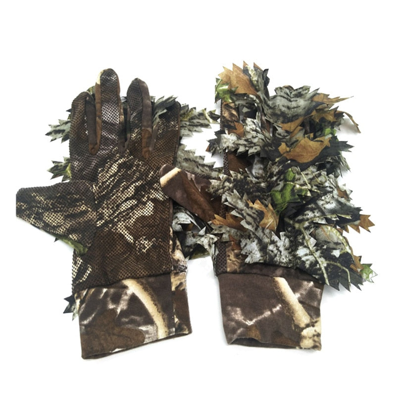 1 Pair Fishing Hunting 3D Leaf Gloves Keep Warm Hunting  Camouflage Hunting Ghillie Suits