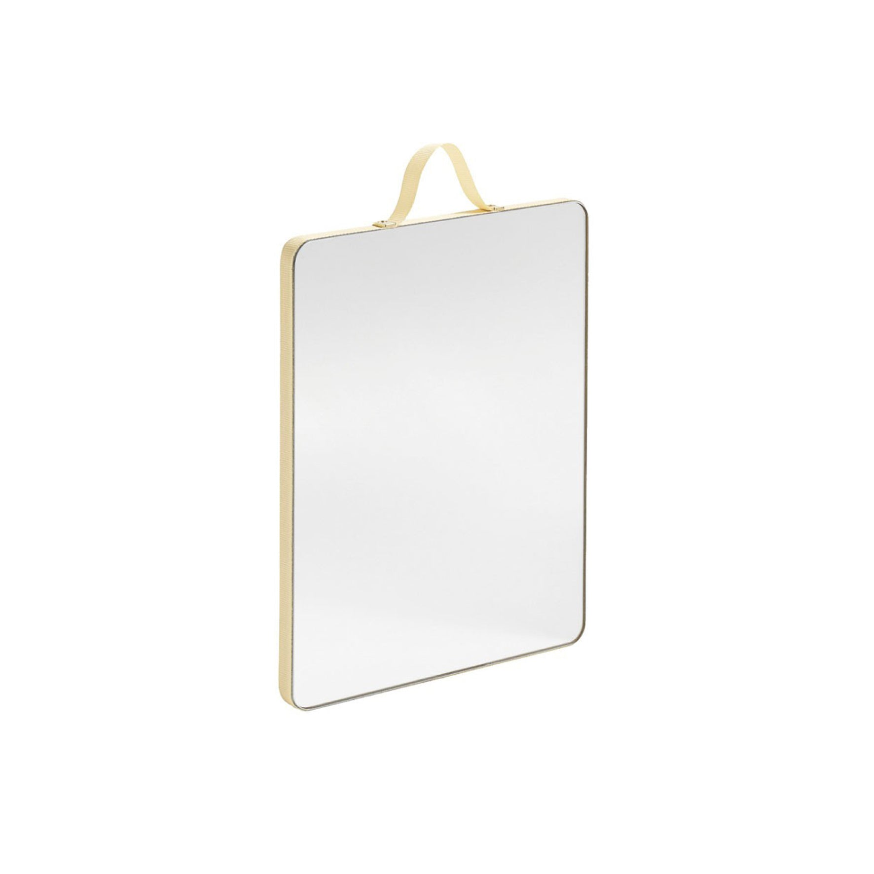 HAY and Inga Sempé's Ruban Mirrors are a range of ribbon-edged mirrors. The oak frame is wrapped with colourful ribbon that softens the edges and also functions as a loop for hanging. Available in a number of different sizes and colours that can be hung individually or arranged in a cluster.