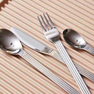 Designed by Swiss design studio BIG-GAME, Sunday is a cutlery series with fluted handles, comprising knives, forks, dessert spoons, serving spoons teaspoons and latte spoons. Made in durable stainless steel.