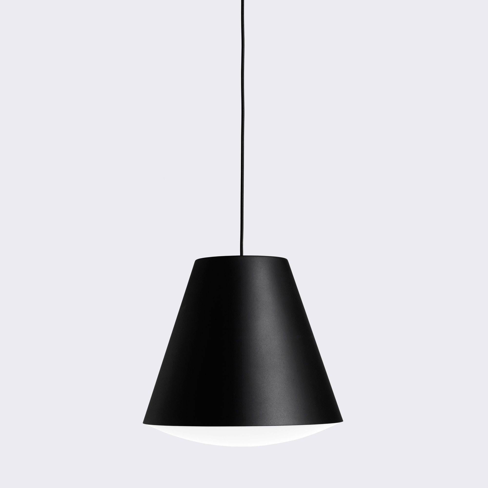 An elemental looking light available as either a small or large pendant. The fabric cord comes with a magnetic moulded ceiling cap in a textured finish. The ABS convex diffuser emits a warm, even illumination.