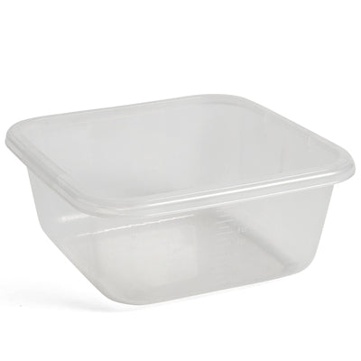 A basic square washing-up bowl with an all-round rim for easy lifting and carrying. Made in Turkey from plastic and available in two different colours.