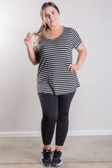T18 Relaxed Fit Striped Short Sleeved Cuffed Tee