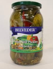 BELVEDER POLISH DILL PICKLES WITH HOT CHILI PEPPERS