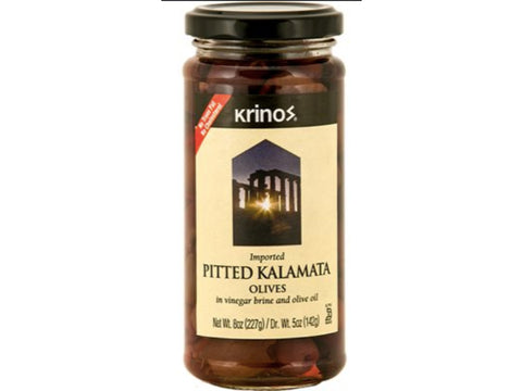 KRINOS PITTED KALAMATA OLIVES IN VINEGAR BRINE AND OLIVE OIL