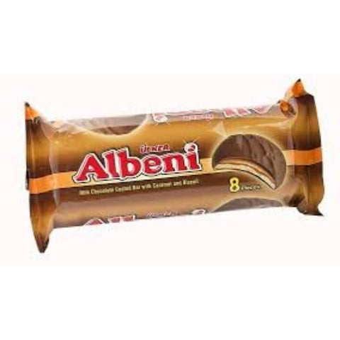ULKER ALBENI MILK CHOCOLATE COATED BAR WITH CARAMEL AND BISCUIT 8 PIECES
