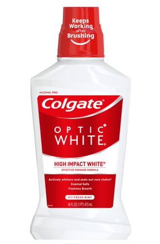 Colgate Optic White Whitening Mouthwash, Fresh Mint - 473mL, 16 Fluid Ounce - The Bath Club