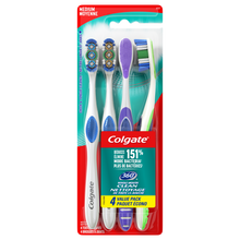 Load image into Gallery viewer, Colgate 360 Manual Toothbrush with Tongue and Cheek Cleaner, Medium, 4 Ct - The Bath Club, INC