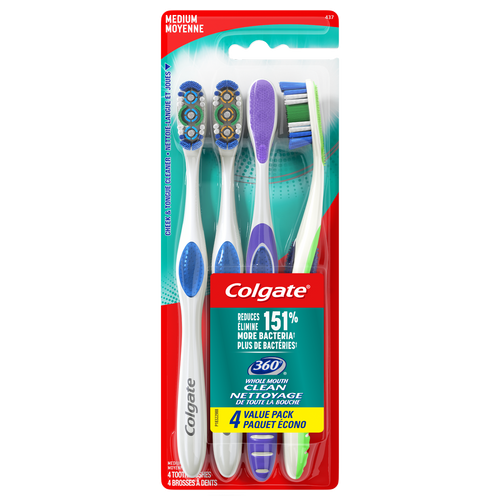 Colgate 360 Manual Toothbrush with Tongue and Cheek Cleaner, Medium, 4 Ct - The Bath Club