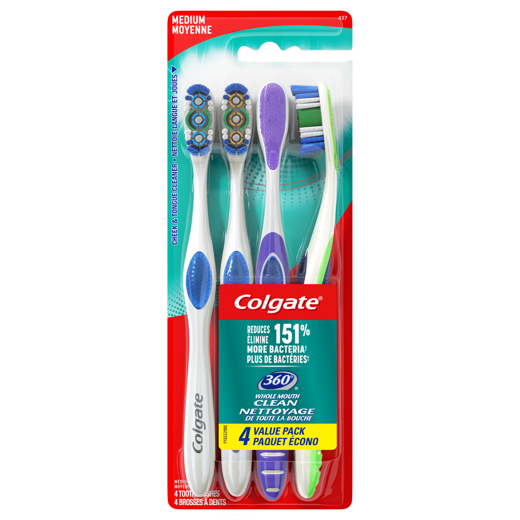 Colgate 360 Manual Toothbrush with Tongue and Cheek Cleaner, Medium, 4 Ct - The Bath Club, INC
