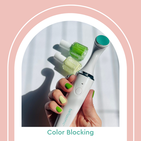 Lime green color blocking summer 2021 nail trends
