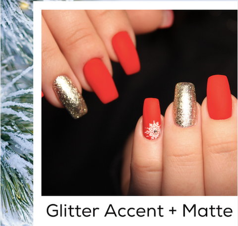 Glitter Accent Red Holiday Nail Art Trends Winter 2020 At Home Manicures
