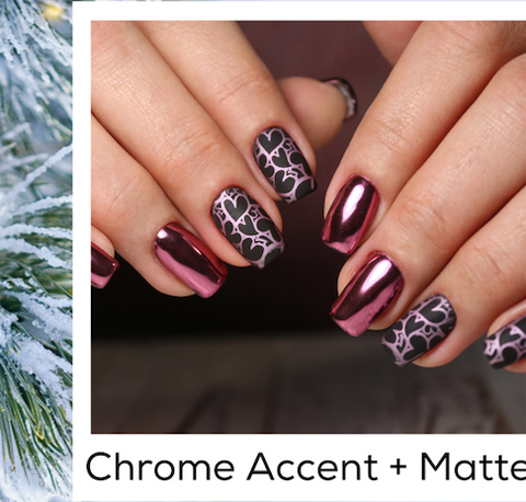 Chrome Accent Matte Valentines Day Nail Art Trends Winter 2020