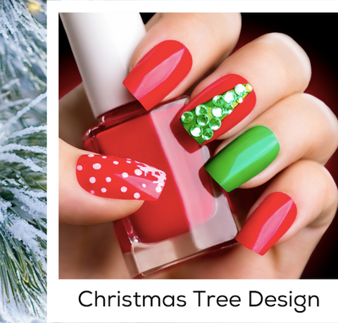 Christmas Tree Design Nail Art Trends Winter 2020 PIN At-Home Manicure and Nail Care