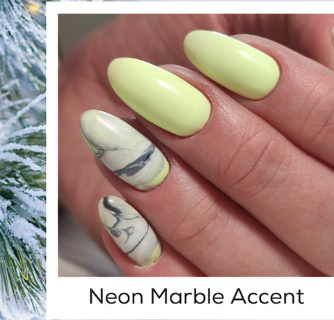 Neon Marble Accent Design Nail Art Trends Winter 2020 PIN