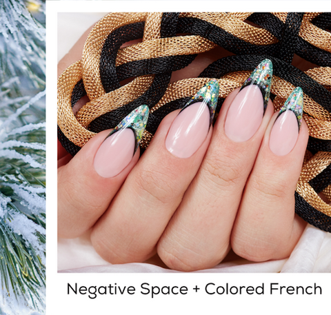 Negative Space + Colored French Design Nail Art Trends Winter 2020