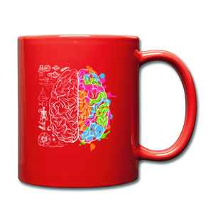 Colorful Art and Science Of The Brain Mug - red