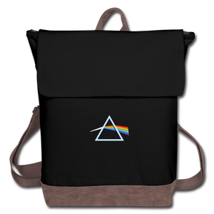 The Wall Prism Refraction Rainbow Canvas Backpack - black/brown