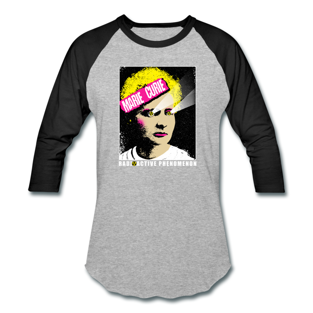 Marie Curie | Radioactive Phenomenon Baseball T-Shirt - heather gray/black