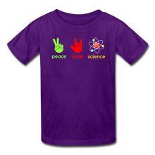 Load image into Gallery viewer, Peace Love Science Kids' T-Shirt - purple
