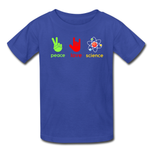 Load image into Gallery viewer, Peace Love Science Kids' T-Shirt - royal blue