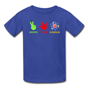 Peace Love Science Kids' T-Shirt - royal blue